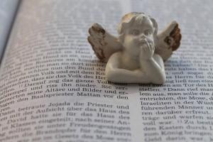 本の上で頬杖を突く天使